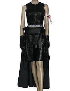 Inspireret af Final Fantasy Tifa Lockhart video Spil Cosplay Kostumer Cosplay Suits Ensfarvet Sort Ærmeløs Top / Skjørte / Shorts