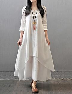 Damen Lose Kleid-Lässig/Alltäglich Einfach Chinoiserie Solide V-Ausschnitt Maxi Langarm Baumwolle Polyester Herbst Mittlere Hüfthöhe