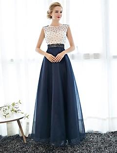 Pouzdrové Illusion Neckline Na zem Krajka Tyl Maturita Promoce Formální večer Šaty s Perličky podle JUEXIU Bridal