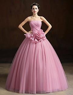 볼 드레스 끈없는 스타일 바닥 길이 오간자 포멀 이브닝 드레스 와 플라워 으로 Yiranmei
