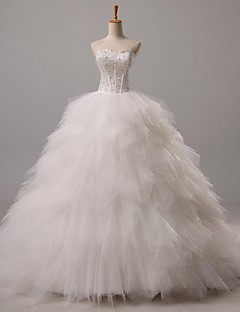 Ball Gown Sweetheart Court Train Tulle Wedding Dress with Beading by LAN TING BRIDE®