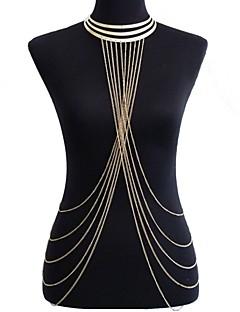 בגדי ריקוד נשים תכשיטי גוף שרשרת בטן רתמתי שרשרת שרשרת גוף / בטן שרשרת מוצלב ארופאי ביקיני תכשיטים גדולים תכשיטים סגסוגת Circle Shape