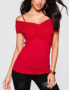 Femme Epaules Dénudées Tee-shirt,Couleur Pleine Sortie Sexy Chic de Rue Eté Manches Courtes A Bretelles Bleu Rouge Coton Fin