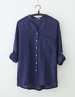 여성 솔리드 V 넥 짧은 소매 블라우스,심플 캐쥬얼/데일리 면 여름 반투명