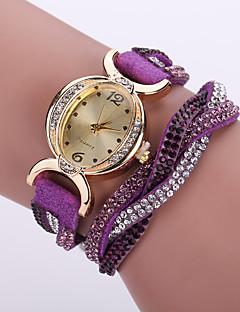 לנשים שעוני אופנה שעון יד שעון צמיד יהלוםSimulated שעון קווארץ חיקוי יהלום / עור להקה פרח בוהמי שחור לבן כחול אדום ורוד סגולורד חום אדום