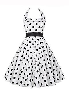 Damen A-Linie Kleid-Ausgehen Retro Punkt Halter Knielang Ärmellos Polyester Sommer Mittlere Hüfthöhe Mikro-elastisch