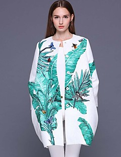 Stephanie mulheres que saem sofisticada coatprint em torno do pescoço de manga comprida Primavera branco