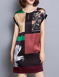 여성 시프트 드레스 캐쥬얼/데일리 플러스 사이즈 심플 프린트,라운드 넥 미니 짧은 소매 실크 여름 중간 밑위 약간의 신축성