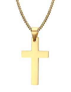 Homens Colares com Pendentes Formato de Cruz Aço Inoxidável Chapeado Dourado Moda Personalizado bijuterias Jóias Para Diário Casual