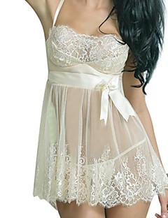 Chemises & Blouses Vêtement de nuit Femme,Dentelle Couleur Pleine Spandex Fil Guipé Beige