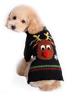Kediler Köpekler Kazaklar Siyah Köpek Giyimi Kış İlkbahar/Kış Ren Geyiği Sevimli Tatil Noel