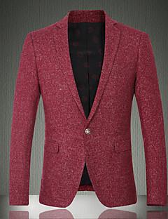 Masculino Casual / Trabalho / Festa/Coquetel estilo antigo Outono / Inverno, Sólido Vermelho Lã / Algodão Colarinho de Camisa-Manga Longa