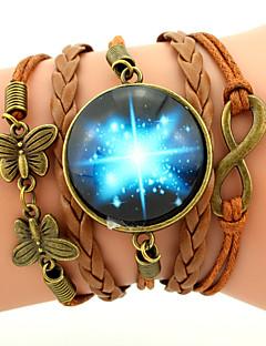 Herre Dame Charm-armbånd Læder Armbånd Wrap Armbånd Venskab Flerlags flettet Galakse Mode Inspirerende Personaliseret kostume smykker