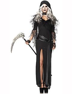 Zauberer/Hexe Fest/Feiertage Halloween Kostüme Schwarz einfarbig Spitze Kleid Mützen Schal Halloween Weihnachten Karneval Kindertag
