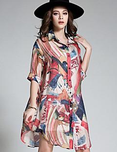 Damen Regenbogen Retro Einfach Boho Ausgehen Strand Übergröße Hemd,Quadratischer Ausschnitt Alle Saisons Kunstseide Polyester Dünn