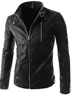 男性 カジュアル/普段着 ソリッド レザージャケット,シンプル スタンド ブラック / ブラウン ピッグスキン 長袖