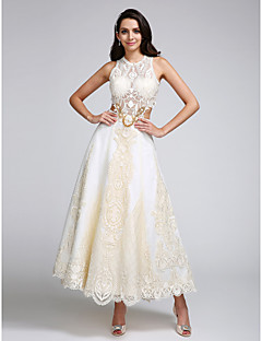 A-Line Jewel Neck Ankle Length Lace Satin Wedding Dress with Appliques Lace by LAN TING BRIDE®