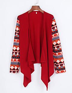 Women's Patchwork Red Wrap , Asymmetrical Long Sleeve