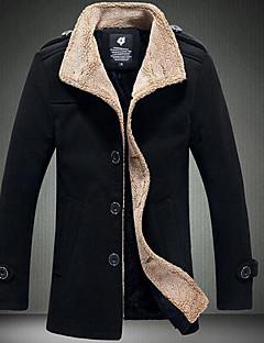 男性 カジュアル/普段着 ソリッド ジャケット,ヴィンテージ ブラック / ブラウン コットン 長袖