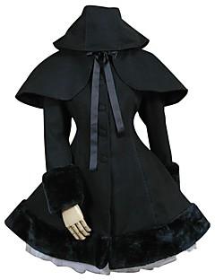 Casaco Gótica Lolita Clássica e Tradicional Inspiração Vintage Elegant Vitoriano Rococo Princesa Cosplay Vestidos Lolita Preto Cor Única
