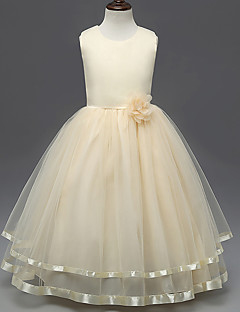 hercegnő padló hossza virág lány ruha - polisztirol ujjatlan ékszer nyakát szatén baihe