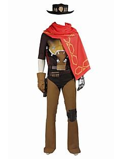 Inspireret af Overwatch Jessie video Spil Cosplay Kostumer Cosplay Kostumer Cosplay Toppe / Underdele Farveblok Rød Orange BrunKappe Vest