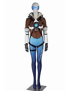Inspireret af Overwatch Serena video Spil Cosplay Kostumer Cosplay Kostumer Cosplay Toppe / Underdele Farveblok Hvid Blå Brun Kort Ærme