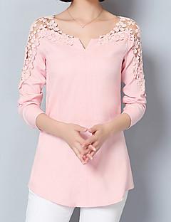 Feminino Camisa Social Para Noite Formal Trabalho Sensual Moda de Rua Sofisticado Todas as Estações Primavera,SólidoAzul Rosa Branco