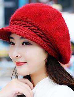 høst og vinter jente kanin hår mote rene farge berets varm strikket ull baseball cap