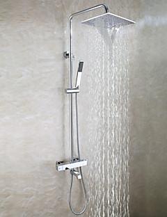 現代風 壁式 滝状吐水タイプ サーモスタットタイプ ハンドシャワーは含まれている with  真鍮バルブ 二つのハンドル三穴 for  クロム , シャワー水栓