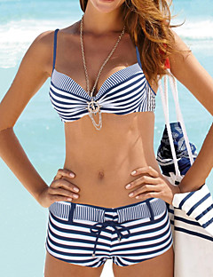 Dame Bikini Geometrisk,Nylon Spandex Grime Stripet