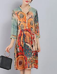 Damen Lose Kleid-Ausgehen Übergröße Anspruchsvoll Druck V-Ausschnitt Knielang ¾-Arm Orange Seide Polyester Frühling SommerMittlere