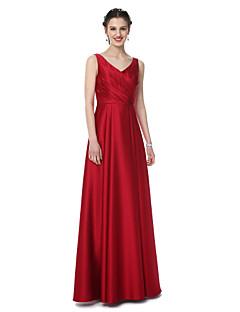 גזרת A צווארון וי עד הריצפה סאטן שמלה לשושבינה  עם קפלים על ידי LAN TING BRIDE®
