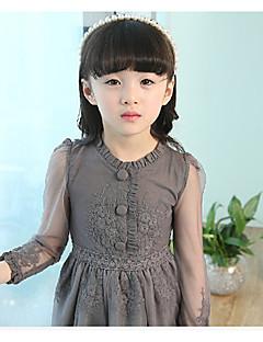 Mädchen Kleid Lässig/Alltäglich einfarbig Baumwolle Frühling Herbst Lange Ärmel