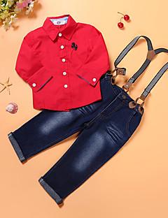 Jungen Sets Ausgehen Lässig/Alltäglich Urlaub einfarbig Baumwolle Polyester Frühling Herbst Lange Ärmel Kleidungs Set