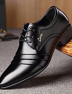 Bărbați Pantofi Microfibre Primăvară Toamnă Confortabili Oxfords Plimbare Dantelă Combinată Pentru Casual Negru