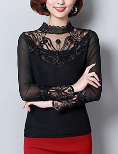 Damen Solide Einfach Lässig/Alltäglich Bluse,Ständer Alle Saisons Langarm Kunstseide Polyester Dünn