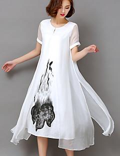 Damen Swing Kleid-Party Ausgehen Übergröße Retro Anspruchsvoll Druck Rundhalsausschnitt Midi Kurzarm Kunstseide Alle Saisons Hohe Hüfthöhe