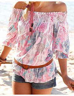 Damen Druck Einfach Lässig/Alltäglich Bluse,Bateau ½ Länge Ärmel Polyester Dünn