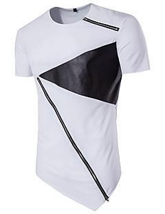 Polyester Kortermet,Rund hals T-skjorte Fargeblokk Gatemote Fritid/hverdag Herre