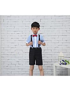 Cotton Ring Bearer Suit - Four-piece Suit Pieces Includes  Pants Shirt Bow Tie Suspenders
