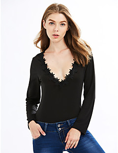 Women's Solid Black Jumpsuits,Sexy / Vintage / Simple Deep V Long Sleeve