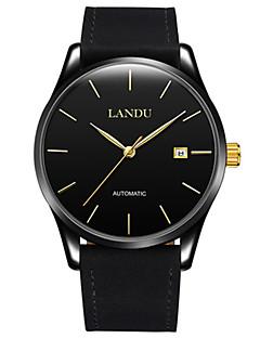 Pánské Módní hodinky mechanické hodinky Automatické natahování Kalendář Voděodolné Kůže Kapela Černá