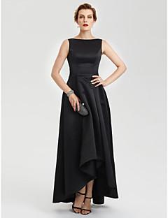 A-linje Båthals Asymmetrisk Sateng Aftenselskap Formell Kjole med Plissert av TS Couture®