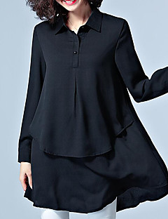 Damen Solide Retro Einfach Street Schick Übergröße Lässig/Alltäglich Arbeit Hemd,Hemdkragen Frühling Sommer Langarm Andere Mittel