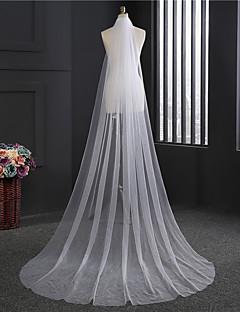 Véus de Noiva Uma Camada Véu Capela Corte da borda Tule