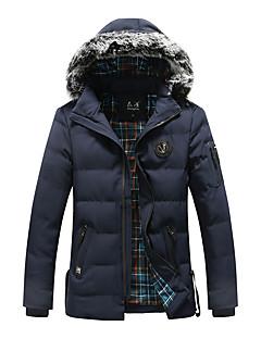コート レギュラー パッド入り メンズ,カジュアル/普段着 ソリッド ストライプ ポリエステル コットン-シンプル 長袖