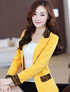 Damen Solide Einfach Arbeit Anzug,V-Ausschnitt Sommer Lange Ärmel Standard Polyester