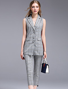 Kadın İnelastik Kolsuz Gömlek Yaka Yaz Izgara / Plaid Desenler Basit Çalışma Kırk Yama-Kadın kısa ve kolsuz bluz Pantolon Suit
