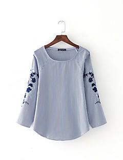 Tee-shirt Femme,Rayé Broderie Sortie Décontracté / Quotidien Sexy simple Chic de Rue Eté Manches Longues Col Arrondi Coton Fin Moyen